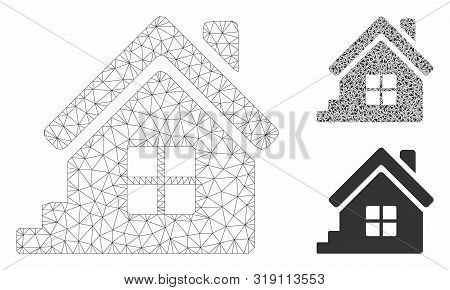 Mesh House Porch Model With Triangle Mosaic Icon. Wire Frame Polygonal Mesh Of House Porch. Vector M