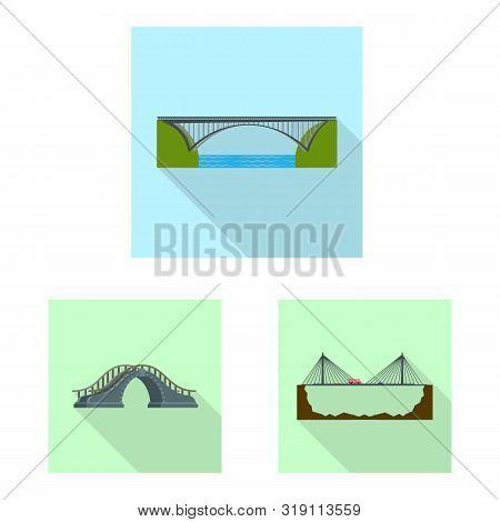 Vector Design Of Bridgework And Bridge Sign. Set Of Bridgework And Landmark Vector Icon For Stock.