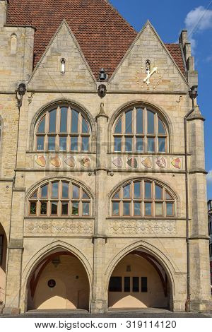 Hildesheim, Germany - 1 July 2019: Detail Of The Town Hall At Historical Market Square In Hildesheim