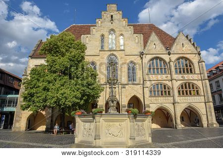 Town Hall At Historical Market Square In Hildesheim On Germany