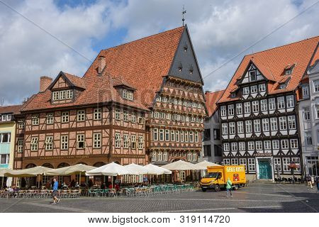 Historical Market Square In Hildesheim On Germany