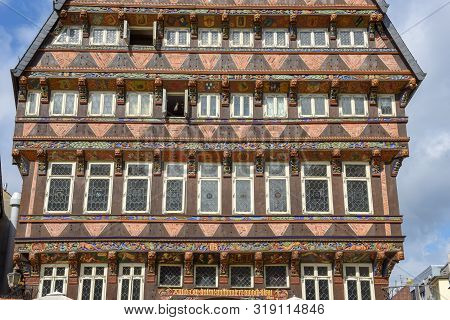Detail Of A House At Historical Market Square In Hildesheim, Germany