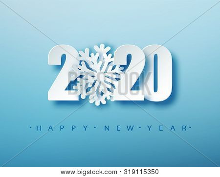 2020 Happy New Year Creative Design Background Or Greeting Card. 2020 New Year Numbers On Blue. Chri