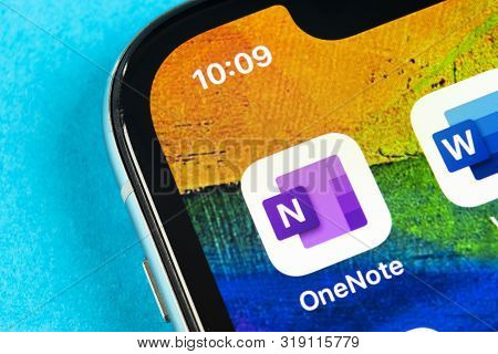 Helsinki, Finland, May 4, 2019: Microsoft Onenote Office Application Icon On Apple Iphone X Screen C