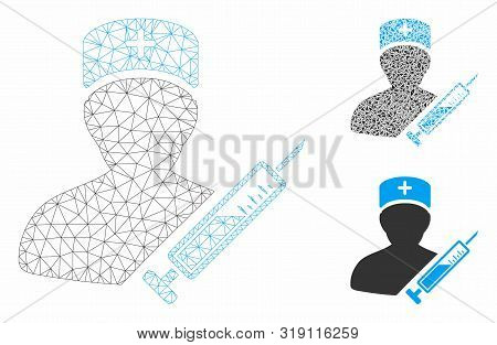 Mesh Medic Model With Triangle Mosaic Icon. Wire Carcass Polygonal Mesh Of Medic. Vector Mosaic Of T