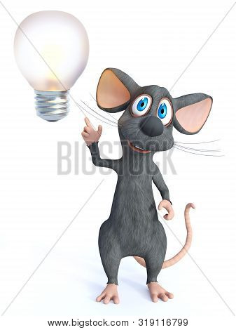 3d Rendering Of A Cute Smiling Cartoon Mouse Looking Like He Is Having A Bright Idea With A Big Ligh