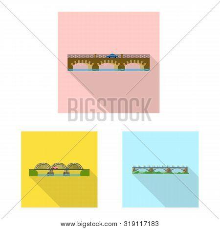 Vector Illustration Of Bridgework And Bridge Sign. Set Of Bridgework And Landmark Stock Vector Illus