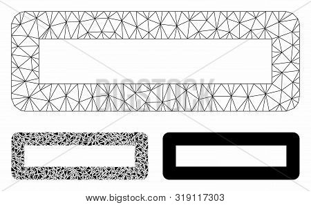 Mesh Minus Model With Triangle Mosaic Icon. Wire Frame Polygonal Network Of Minus. Vector Mosaic Of