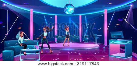 Hen-party In Night Club, Bride Or Fiancee Celebrating Bachelorette With Girl Friends Bridesmaids At
