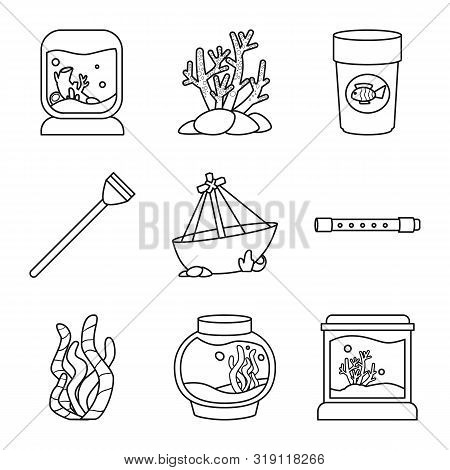 Vector Design Of Fishbowl And Accessory Icon. Collection Of Fishbowl And Care Vector Icon For Stock.