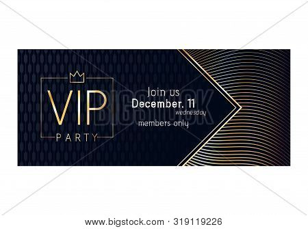 Vip Club Party Premium Invitation Card Poster Flyer. Black And Golden Design Template. Golden Lines