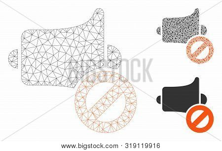 Mesh Mute Model With Triangle Mosaic Icon. Wire Frame Triangular Mesh Of Mute. Vector Mosaic Of Tria