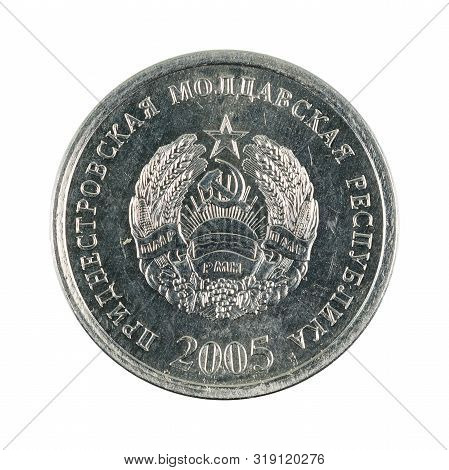 A Single 10 Transnistrian Kopecks Coin (2005) Reverse Isolated On White Background