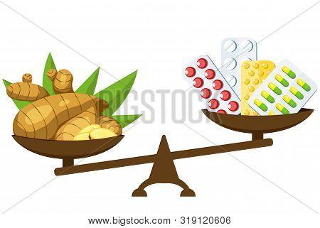 Medication Vs Natural Remedies. Drugs, Pills And Medicinal Syrup. Honey, Ginger And Lemon. Vector Ca
