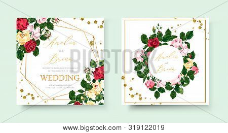 Wedding Floral Golden Geometric Triangular Frame Invitation Card Save The Date Design With Pink Red