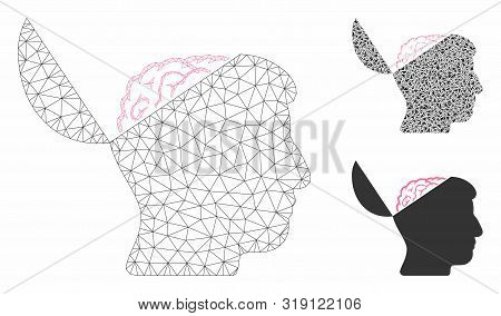 Mesh Open Mind Model With Triangle Mosaic Icon. Wire Carcass Triangular Mesh Of Open Mind. Vector Co