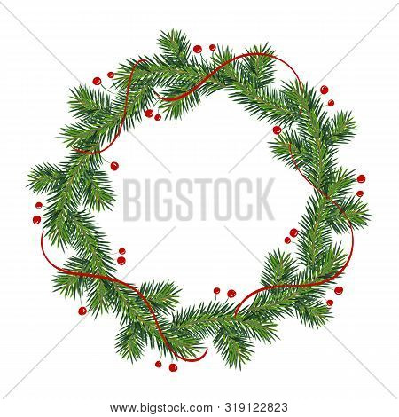 New Year And Christmas Wreath. Winter Garland With Red Holly Berries On Green Branches, Isolated On