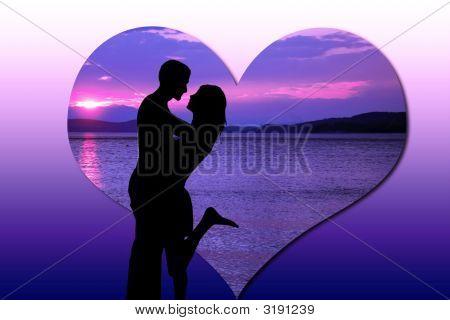 Sunset Shadows In Love Postcard