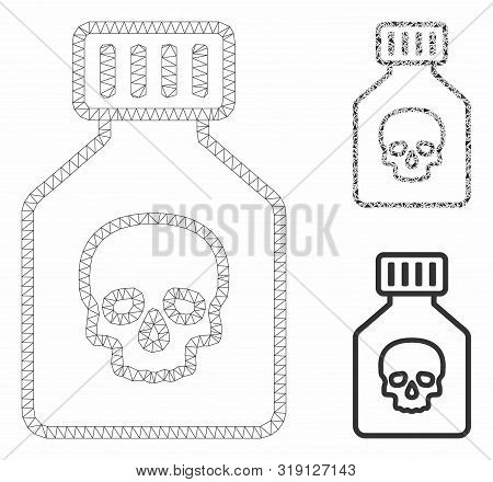 Mesh Poison Phial Model With Triangle Mosaic Icon. Wire Carcass Triangular Mesh Of Poison Phial. Vec