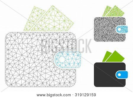 Mesh Purse Model With Triangle Mosaic Icon. Wire Carcass Polygonal Network Of Purse. Vector Mosaic O