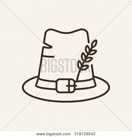 Pilgrim Hat Line Icon. Accessory, Headwear, Buckle. Thanksgiving Day Concept. Can Be Used For Topics