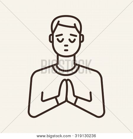 Praying Man Line Icon. Faith, Hope, Religion. Christianity Concept. Can Be Used For Topics Like Spir