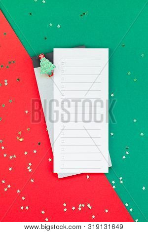 Creative New Year Or Christmas Todo List Event Planner Mockup Flat Lay Top View Xmas Holiday Celebra