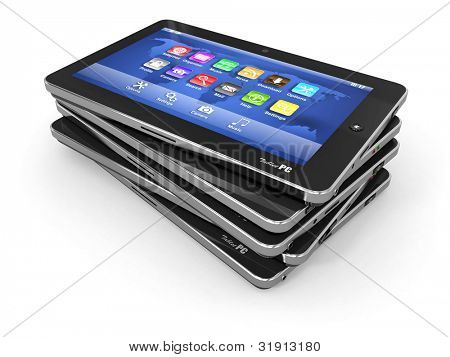 Group of tablet pc on white isolated background. 3d