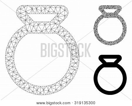 Mesh Sack Model With Triangle Mosaic Icon. Wire Carcass Polygonal Mesh Of Sack. Vector Mosaic Of Tri