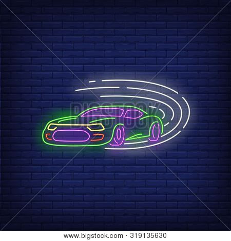 Sport Car Driving Fast Neon Sign. Glowing Neon Automobile. Race, Competition, Motor Car. Night Brigh