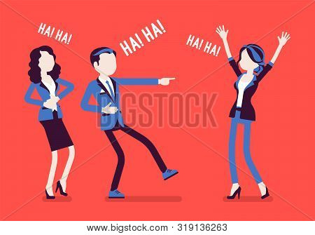 Business People Joking, Laughing. Businessman And Businesswomen Being In A Good Mood, Enjoy Funny Of