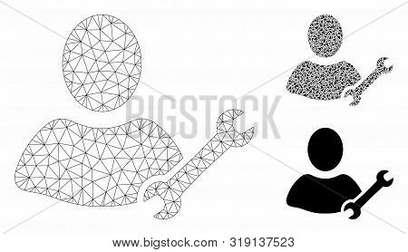 Mesh Serviceman Model With Triangle Mosaic Icon. Wire Carcass Polygonal Mesh Of Serviceman. Vector M
