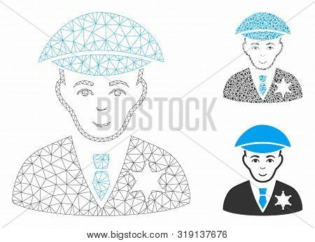 Mesh Sheriff Model With Triangle Mosaic Icon. Wire Frame Triangular Mesh Of Sheriff. Vector Mosaic O