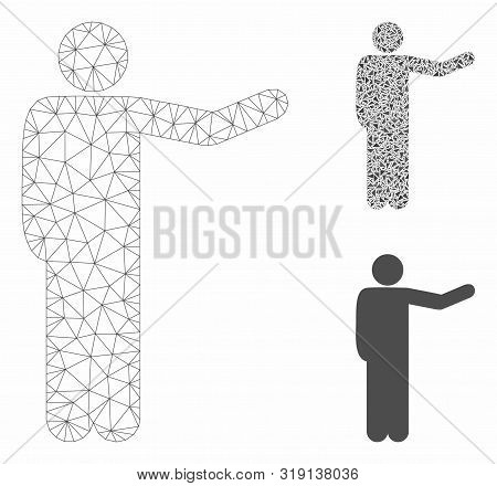 Mesh Showing Man Model With Triangle Mosaic Icon. Wire Carcass Triangular Mesh Of Showing Man. Vecto