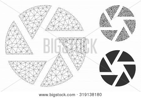 Mesh Shutter Model With Triangle Mosaic Icon. Wire Carcass Triangular Mesh Of Shutter. Vector Mosaic