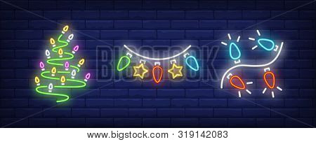Fir-tree Shaped Lights Garland And Bulbs Neon Signs Set. Christmas, New Year Day, Celebration Design