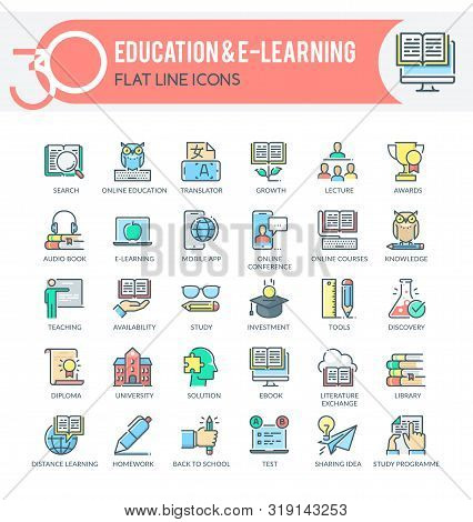 Set Of Filled Outline Multicolor Icons On Following Themes - Education, Science, Online Training And