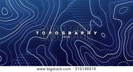 Topography Relief. Abstract Memphis Background. Vector Minimal Illustration. Outline Cartography Lan
