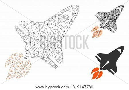 Mesh Space Shuttle Model With Triangle Mosaic Icon. Wire Frame Triangular Mesh Of Space Shuttle. Vec