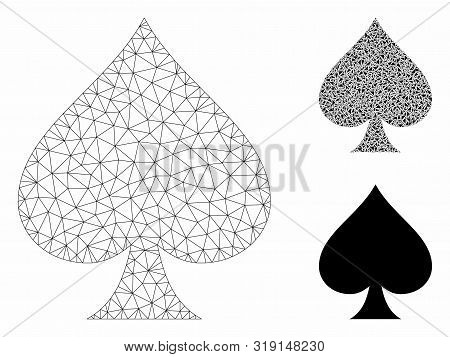 Mesh Spades Suit Model With Triangle Mosaic Icon. Wire Frame Triangular Mesh Of Spades Suit. Vector