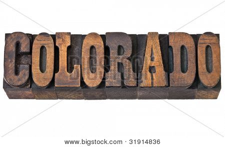 Colorado - isolated word in vintage letterpress wood type - French Clarendon font popular in western movies and memorabilia