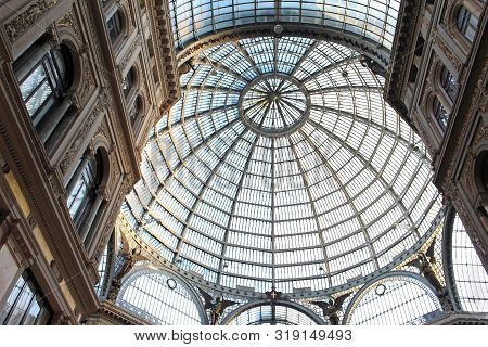 Naples, Italy - June 26, 2014; Interior Of Famous Galleria Vittorio Emanuele In Naples, Italy. Famou