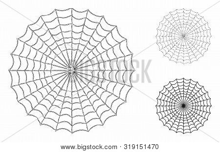 Mesh Spider Web Model With Triangle Mosaic Icon. Wire Carcass Triangular Network Of Spider Web. Vect