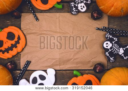 Delicious Ginger Biscuits Cookies And Ripe Pumpkins For Halloween On Wooden Background Halloween Bac