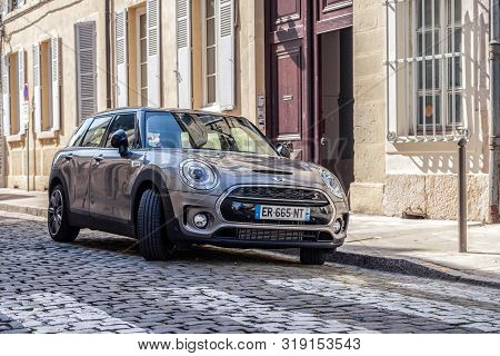 France Beaune 2019-06-19 Gray New Shiny Car Mini Cooper S Parking On Cozy European Street With Pavin