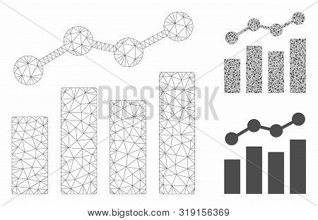 Mesh Stats Charts Model With Triangle Mosaic Icon. Wire Frame Polygonal Mesh Of Stats Charts. Vector