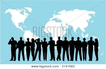 business crowd on a blue globe background poster