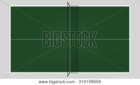 Table Tennis Top View . Vector Ping Pong Table Template .