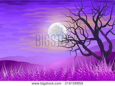 The Silhouette Of A Tree In The Night, A Full Moon And Meadow Grass. Illustration In Purple.