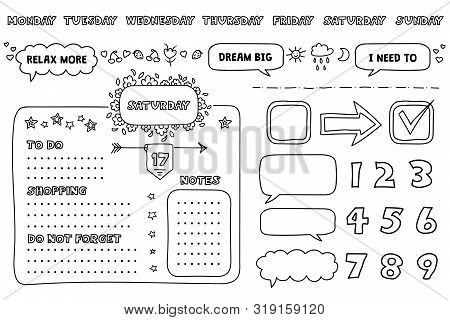 Set Of Weekly Planner Elements And To Do Lists With Trendy Lettering In A Doodle Style. Template For